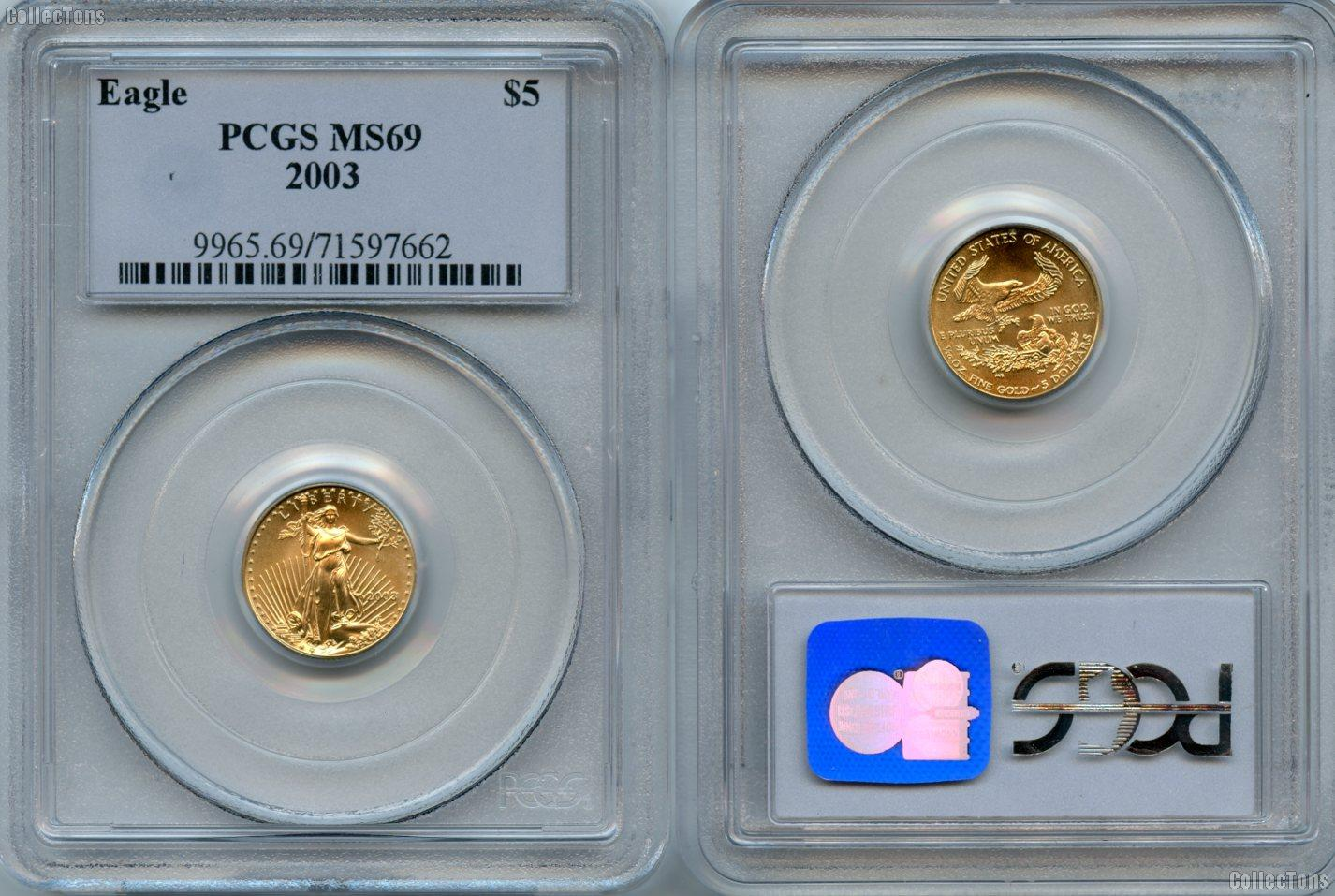 2003 Gold $5 American Eagle in PCGS MS 69