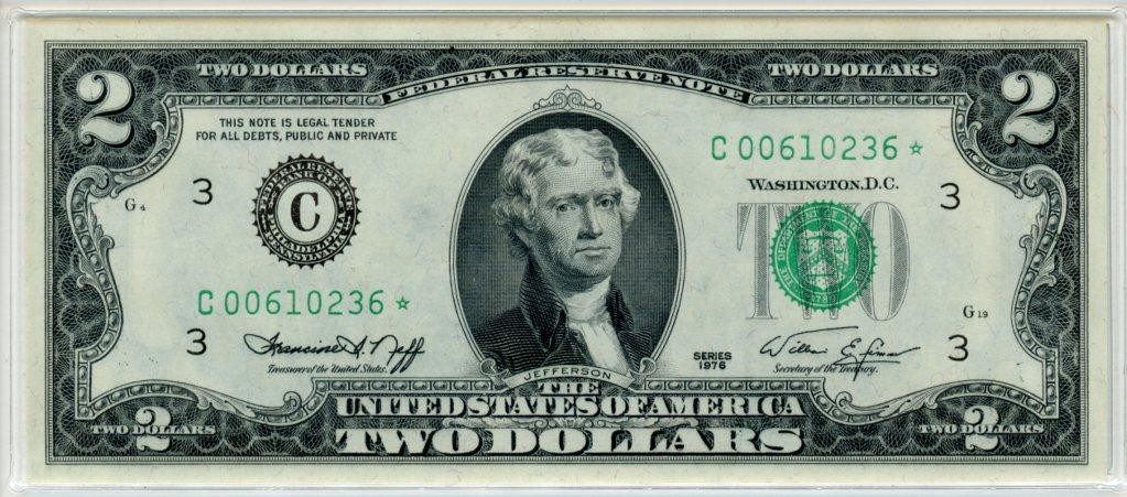 Two Dollar Bill Green Seal FRN Series STAR NOTE 1976 US Currency CU Crisp Uncirculated