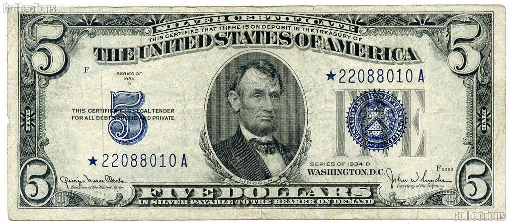 Five Dollar Bill Silver Certificate STAR NOTE Series 1934 US Currency Good or Better