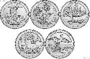 2018 National Park Quarters Complete Set Philadelphia (P) Mint Uncirculated (5 Coins) MI, WI, MN, GA, RI
