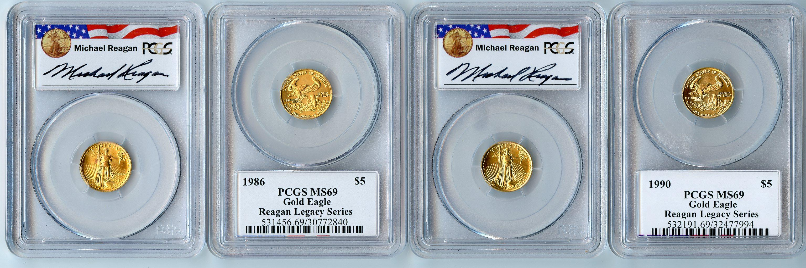 Gold $5 American Eagle 1/10th Ounce in PCGS MS 69 Michael Reagan Signature Holders Mixed Dates