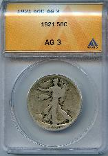 1921 Walking Liberty Half Dollars in ANACS AG 3