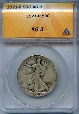1921-D Walking Liberty Half Dollars in ANACS AG 3