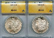 1883-CC Morgan Silver Dollars in ANACS MS 64
