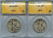 1920-D Walking Liberty Half Dollars in ANACS VG 8