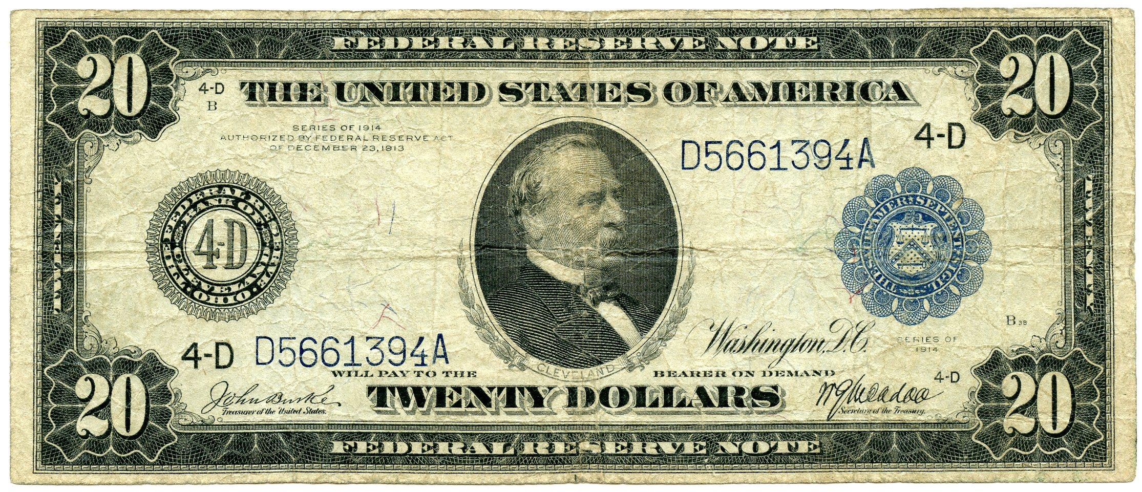 Twenty Dollar Bill Federal Reserve Note Blue Seal Large Size Series 1914 US Currency Good or Better