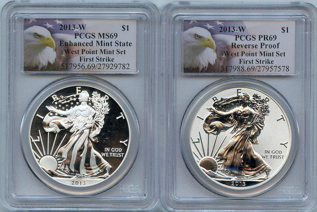 2013-W American Silver Eagle West Point Set (2 Coins) Reverse Proof and Enhanced Mint State First Strike in PCGS PR 69 & MS 69