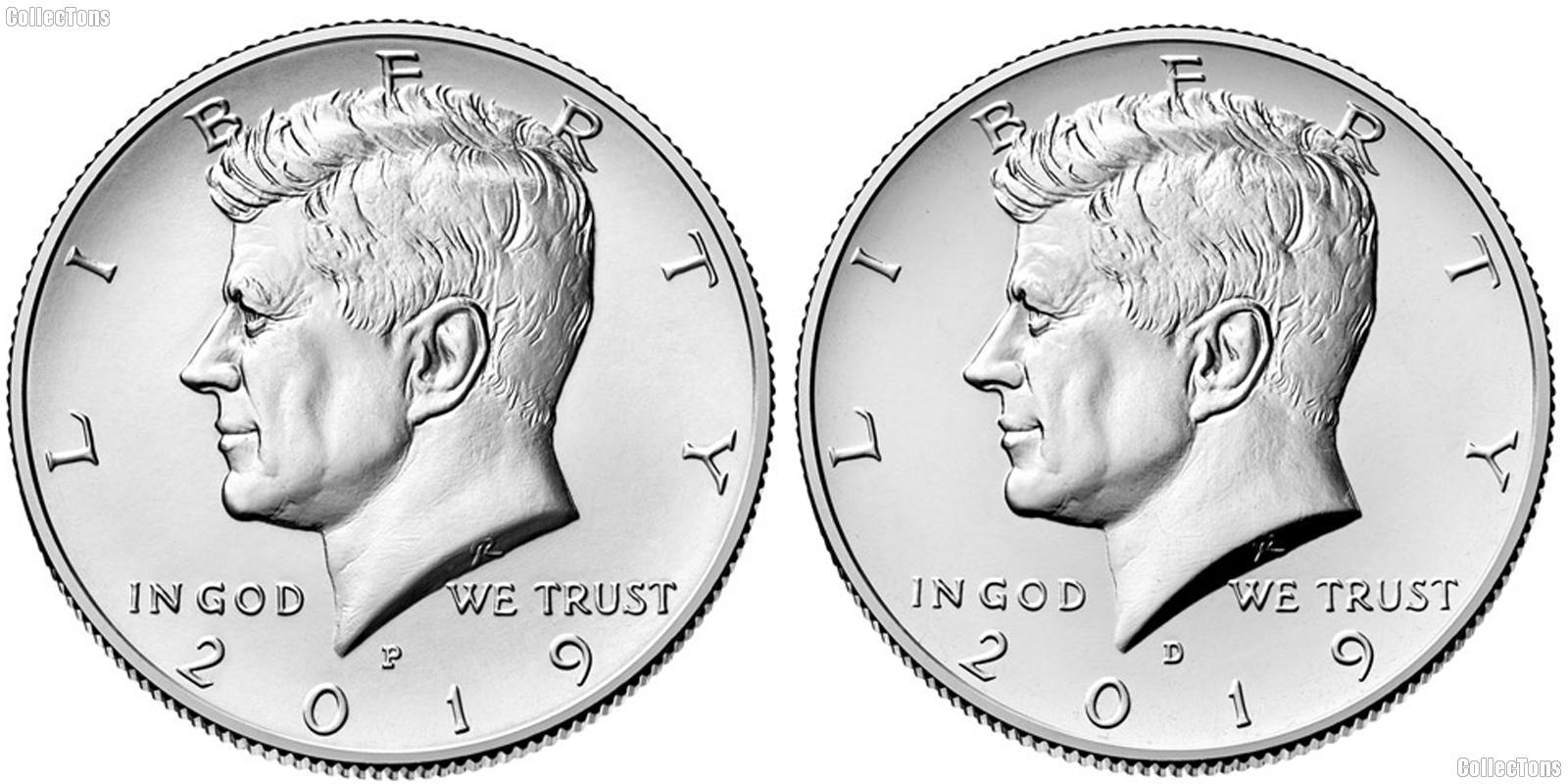 2019 P & D Kennedy Half Dollars GEM BU 2019 Kennedy Halves