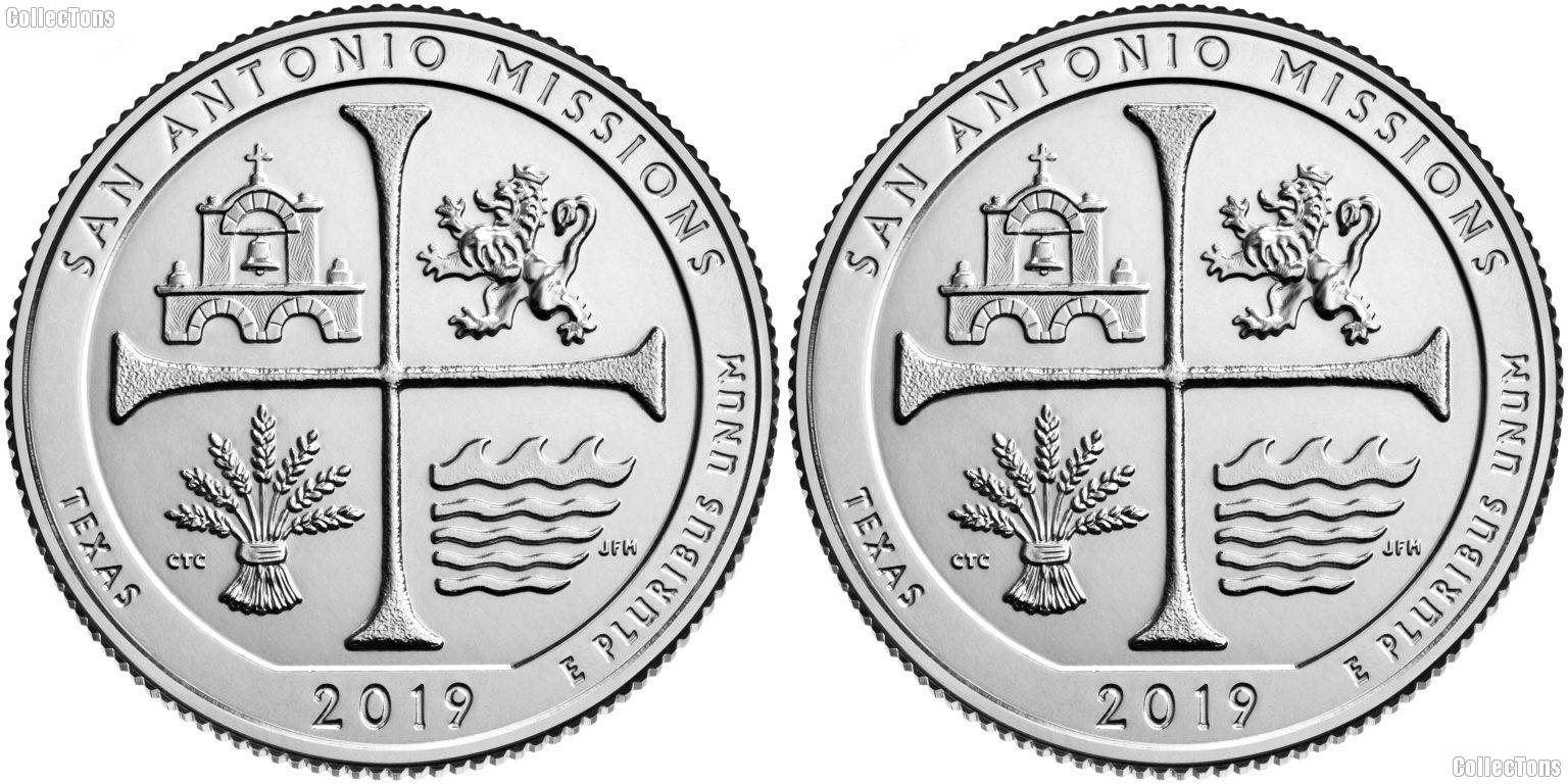2019 P & D Texas San Antonio Missions National Historical Park Quarters GEM BU America the Beautiful
