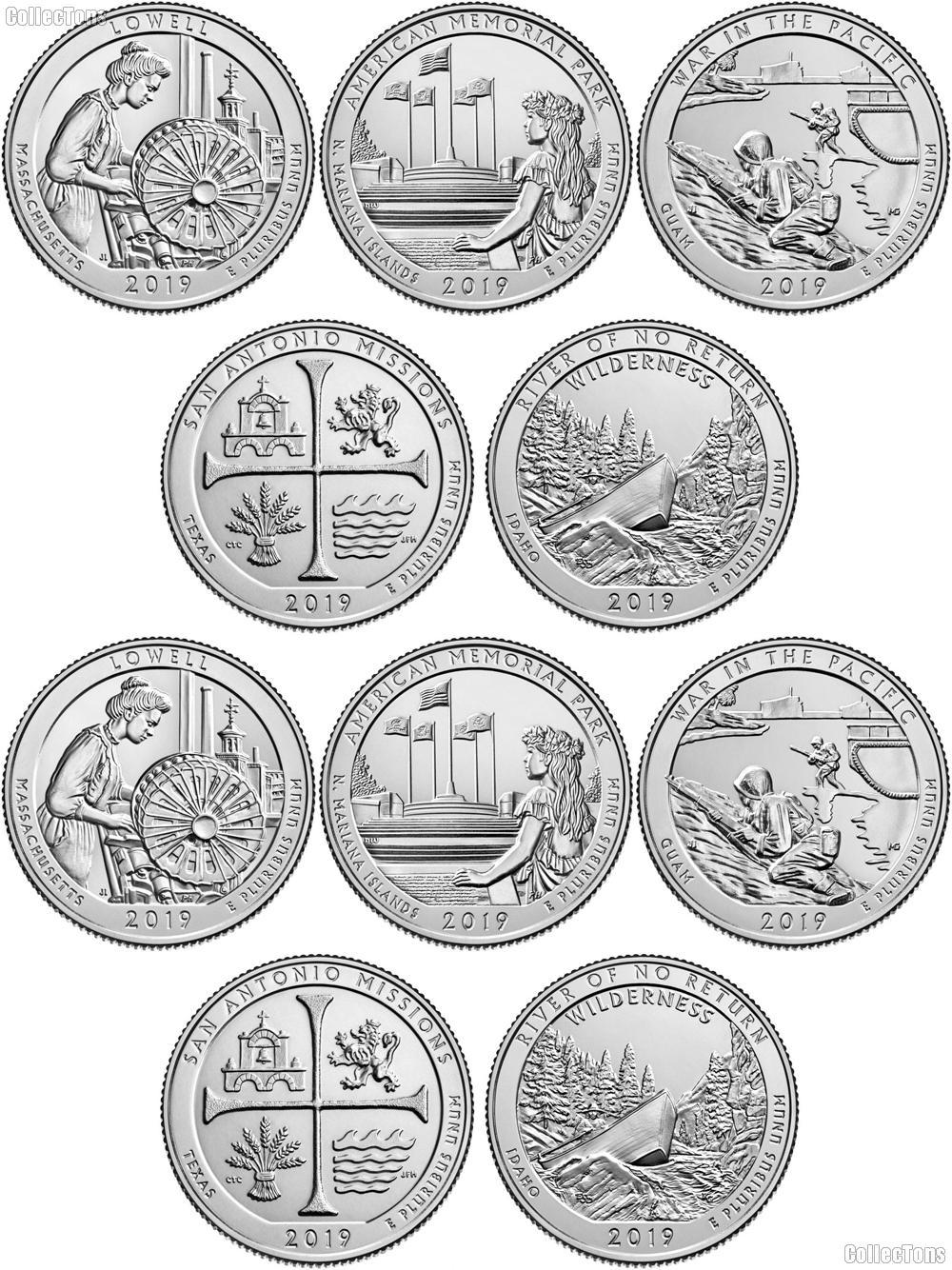 2019 National Park Quarters Complete Set P & D Uncirculated (10 Coins) MA, MP, GU,TX, ID