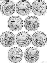 2019 National Park Quarters Complete Set P & D Uncirculated (10 Coins) MA, MP, GU,TX, ID