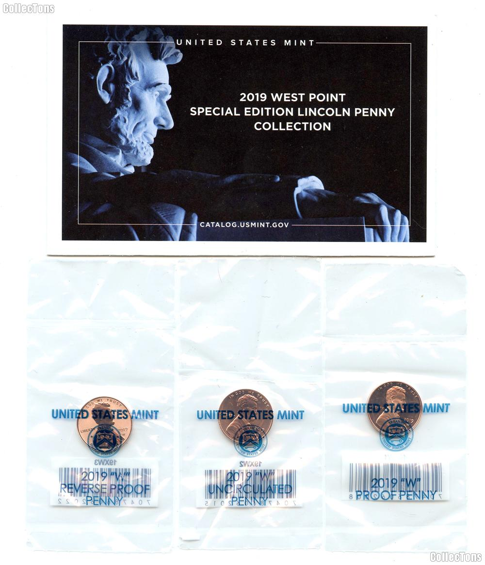 2019 West Point Special Edition Lincoln Penny Collection - Complete Set All 3 Coins