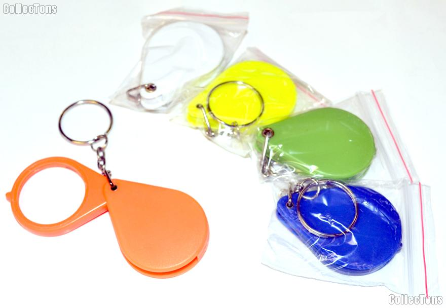 Folding 5x Pocket Magnifier with Key Chain Colored