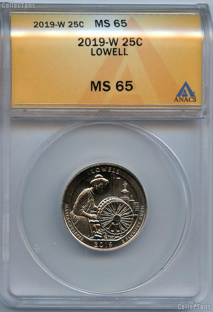 2019-W Massachusetts Lowell National Park Quarter in ANACS MS 65 Great American Coin Hunt