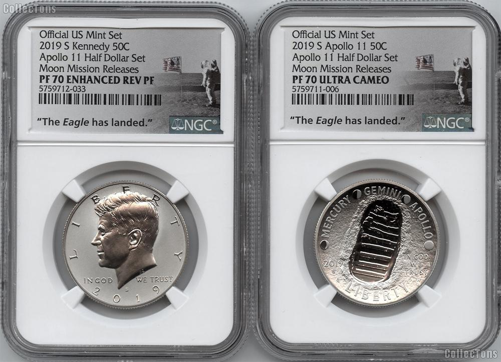 2019-S Apollo 11 50th Anniversary Half Dollar 2-Coin Set in NGC PF 70