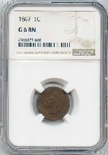 1867 Indian Head Cent in NGC G 6 BN (Brown)