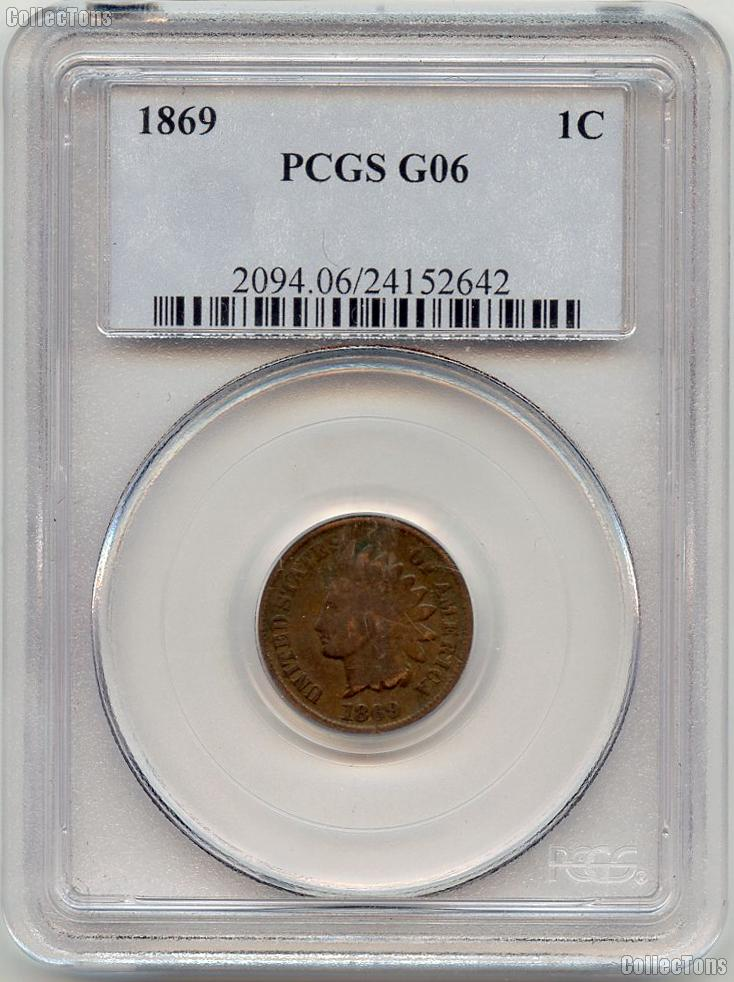 1869 Indian Head Cent in PCGS G 06