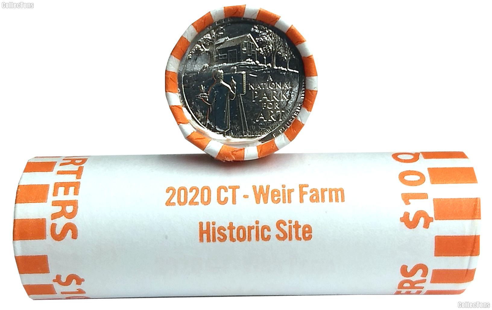 2020-P Connecticut Weir Farm Historic Site National Park Quarter Roll GEM BU America the Beautiful