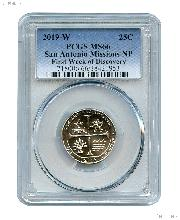 2019-W San Antonio Missions National Park Quarter in PCGS MS 66 First Week of Discovery