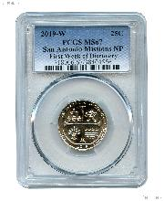 2019-W San Antonio Missions National Park Quarter in PCGS MS 67 First Week of Discovery