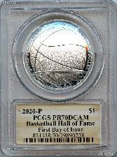2020-P Basketball Hall of Fame Commemorative PROOF Silver Dollar Coin in PCGS PR 70 DCAM FDOI