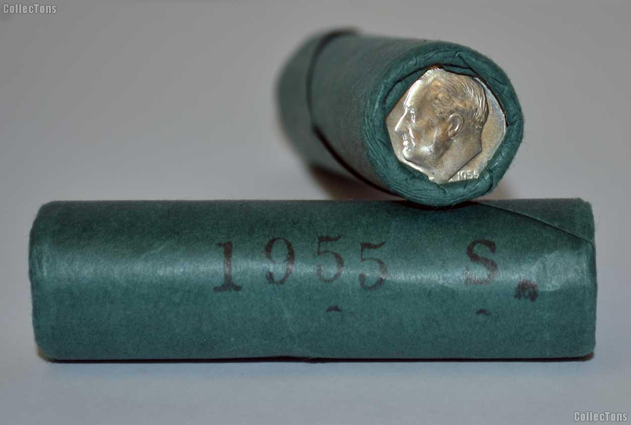 1955-S Roosevelt Dime Original Bank Wrapped Roll (OBW)