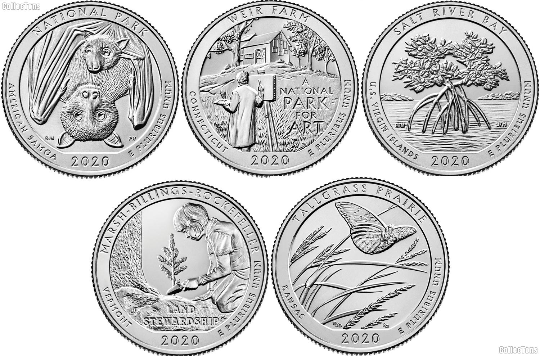 2020 National Park Quarters Complete Set Philadelphia (P) Mint Uncirculated (5 Coins) AS, CT, VI, VT, KS