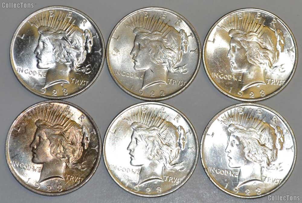 Peace Silver Dollars - Mixed Dates - AU+ / Unc