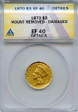 1870 $3 Gold Indian Princess Head in ANACS EF 40 Details