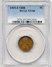 1909-S VDB Lincoln Wheat Cent KEY DATE in PCGS VF-30