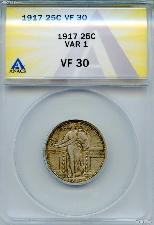 1917 Standing Liberty Silver Quarter Type 1 in ANACS VF 30