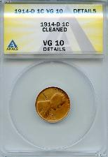 1914-D Key Date Lincoln Wheat Cent in ANACS VG 10 Details