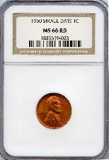 1960 Small Date  Lincoln Memorial Cent in NGC MS 66 RD