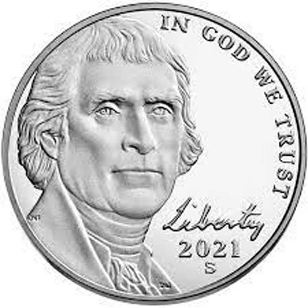 2021-S Jefferson Nickel PROOF Coin 2021 Proof Nickel Coin
