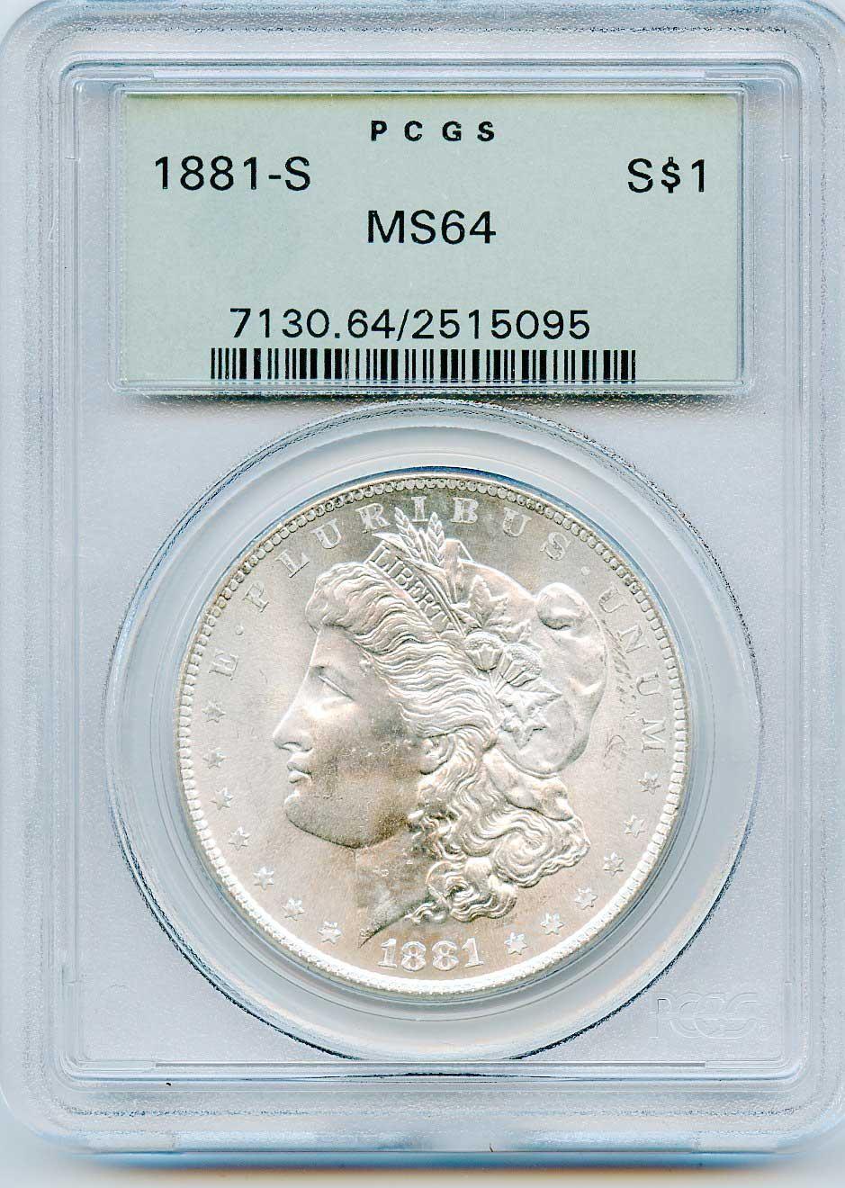 1881-S Morgan Silver Dollar in PCGS MS64