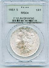 1881-S Morgan Silver Dollar in PCGS MS64