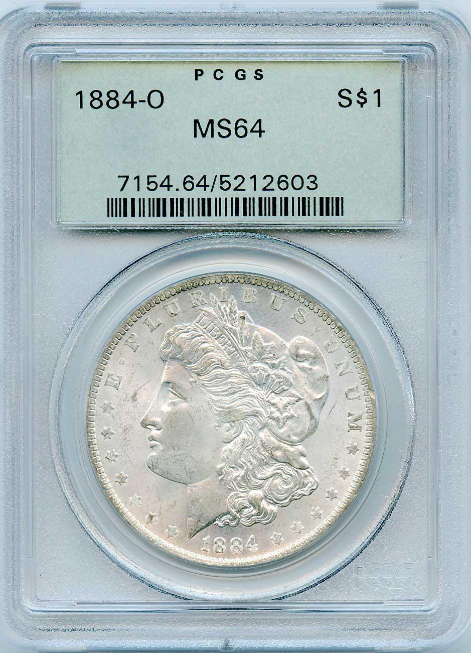 1884-O Morgan Silver Dollar - PCGS MS 64