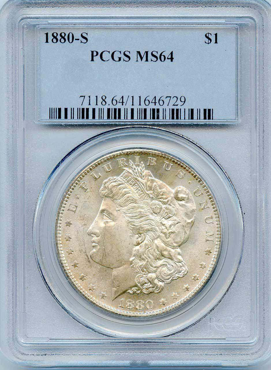 1880-S Morgan Silver Dollar in PCGS MS 64