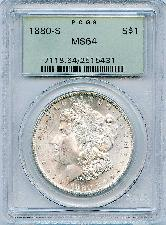 1880-S Morgan Silver Dollar in PCGS MS 64