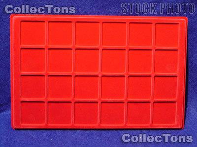 """Lighthouse Velvet Coin Trays 1-3/4"""" Holders TAB 24 Red"""
