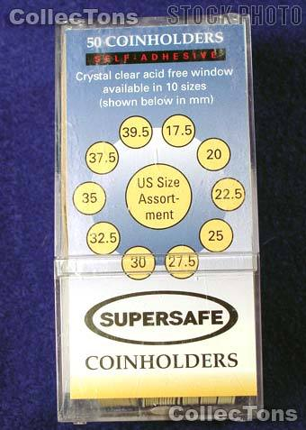 50 Supersafe 2x2 Self-Adhesive Cardboard Coin Holders MIX SIZES