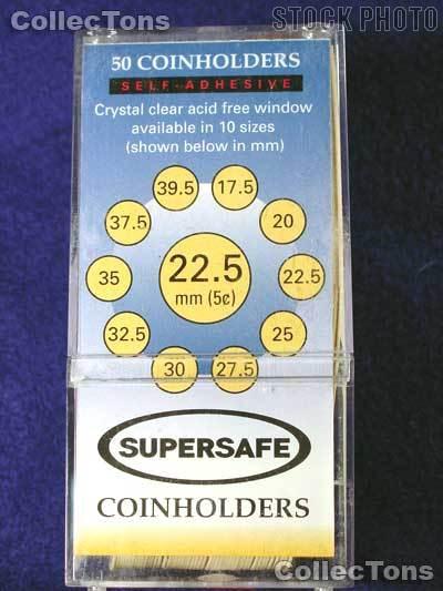 50 Supersafe 2x2 Self-Adhesive Cardboard Coin Holders NICKELS