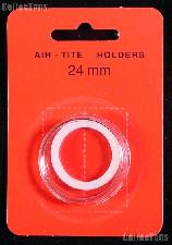 """Air-Tite Coin Capsule """"T"""" White Ring Coin Holder for 24mm Coins quarters"""