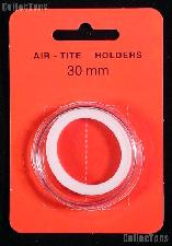 """Air-Tite Coin Capsule """"H"""" White Ring Coin Holder for 30mm Coins HALF DOLLARS"""