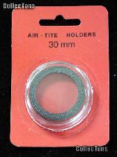 """Air-Tite Coin Capsule """"H"""" Black Ring Coin Holder for 30mm Coins HALF DOLLARS"""