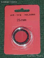 """Air-Tite Coin Capsule """"T"""" Black Ring Coin Holder for 25mm Coins"""