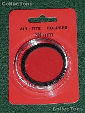 """Air-Tite Coin Capsule """"I"""" Black Ring Coin Holder 38mm Coins LARGE DOLLARS"""