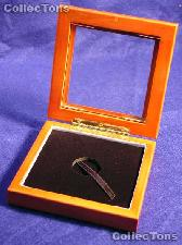 """Glass Top Wooden Coin Box - Airtite """"A"""" Capsule Holder"""