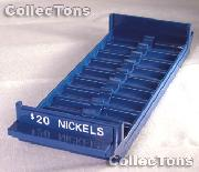 Color-Coded Plastic Coin Roll Tray for 10 NICKEL Rolls