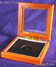 """Glass Top Wooden Coin Box - Airtite """"T"""" Capsule Holder"""